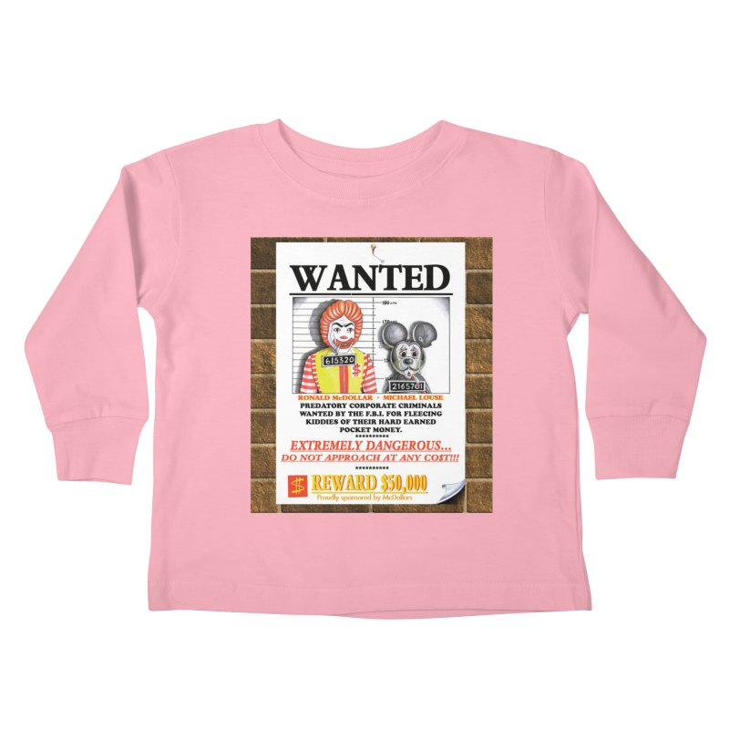 WANTED Kids Toddler Longsleeve T-Shirt by philscarr's Artist Shop