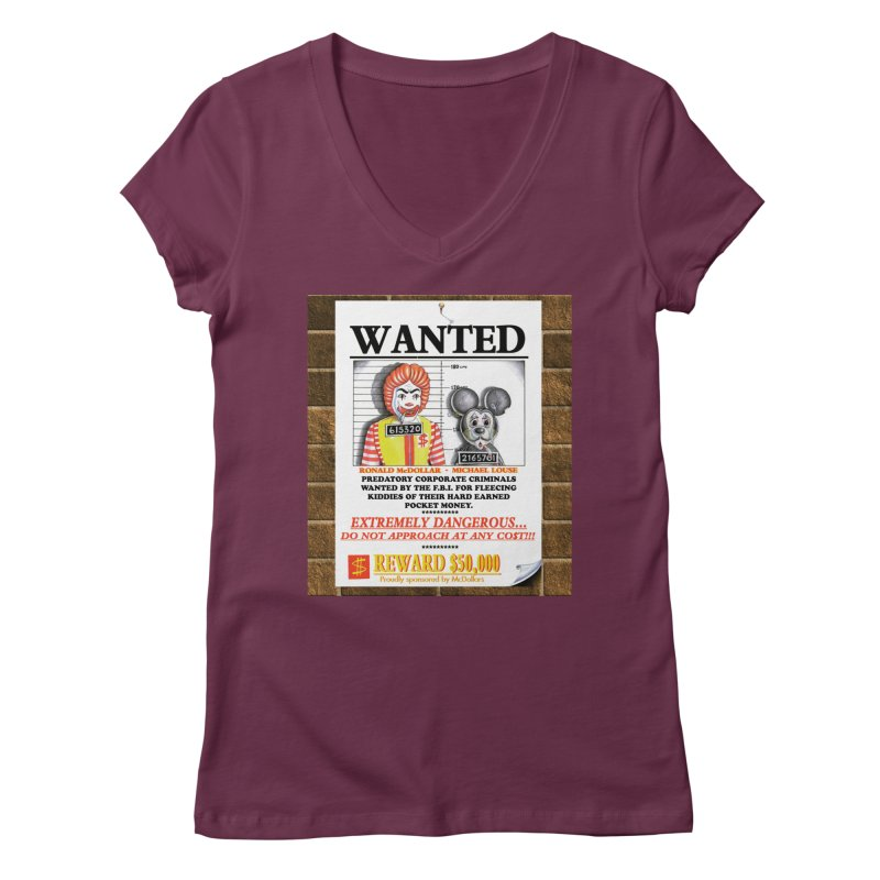 WANTED Women's Regular V-Neck by philscarr's Artist Shop