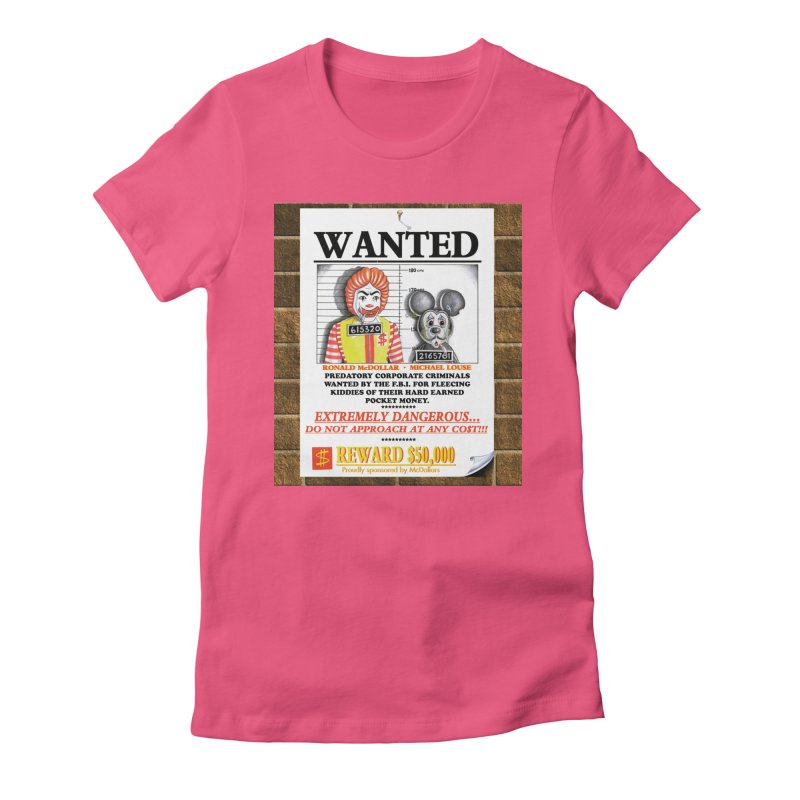 WANTED Women's Fitted T-Shirt by philscarr's Artist Shop
