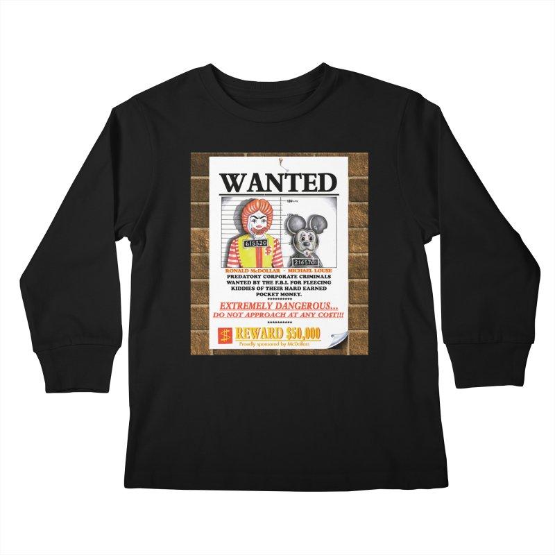 WANTED Kids Longsleeve T-Shirt by philscarr's Artist Shop