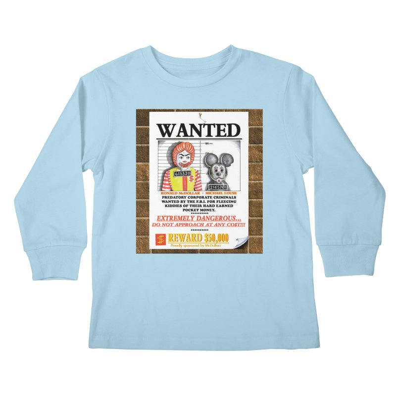 WANTED Kids Longsleeve T-Shirt by philscarr's Artist Shop