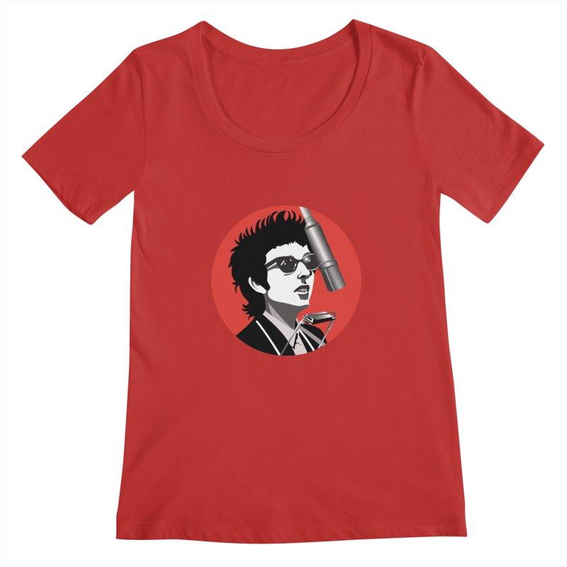 Bob Dylan Women's Regular Scoop Neck by philscarr's Artist Shop