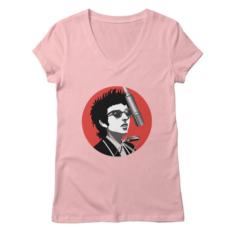 Bob Dylan Women's Regular V-Neck by philscarr's Artist Shop
