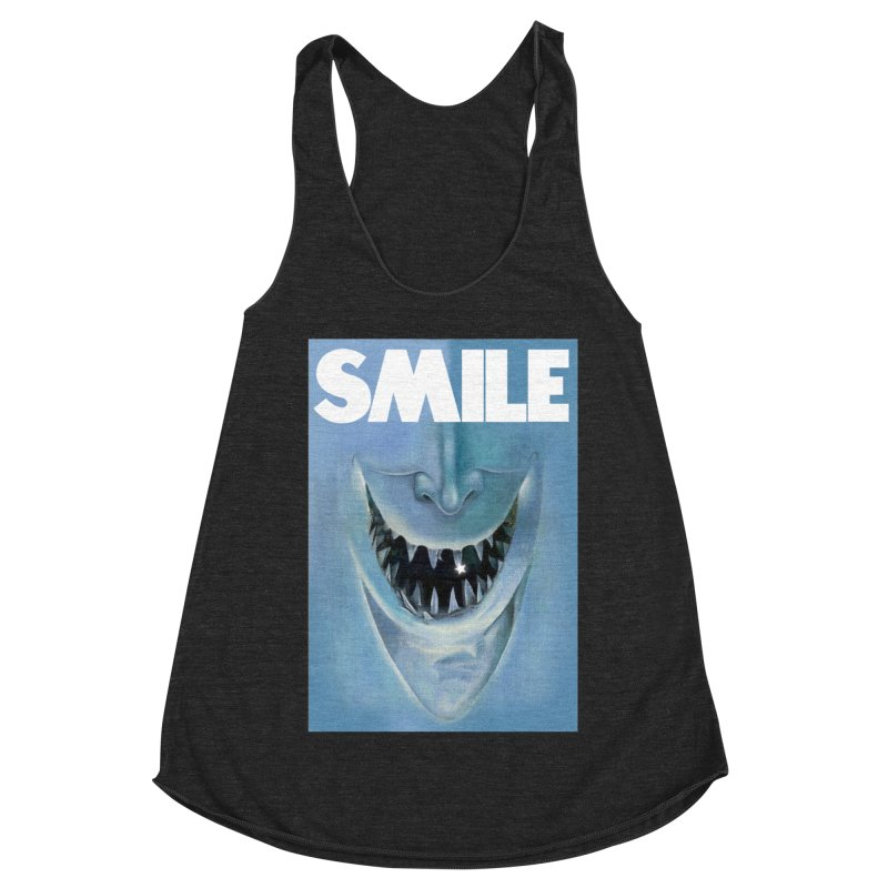SMILE Women's Racerback Triblend Tank by philscarr's Artist Shop