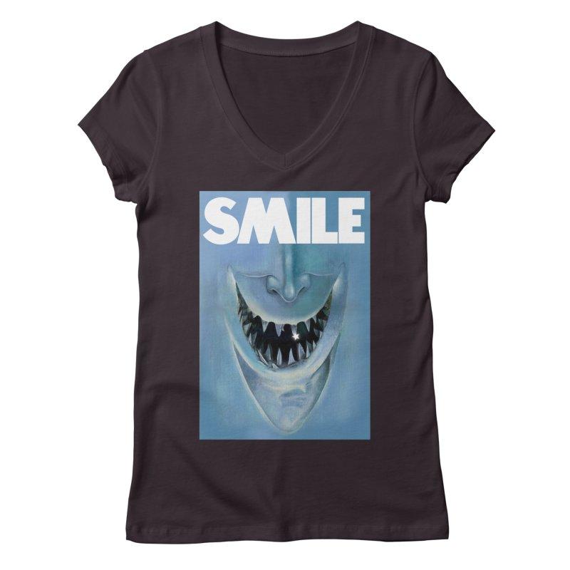 SMILE Women's Regular V-Neck by philscarr's Artist Shop