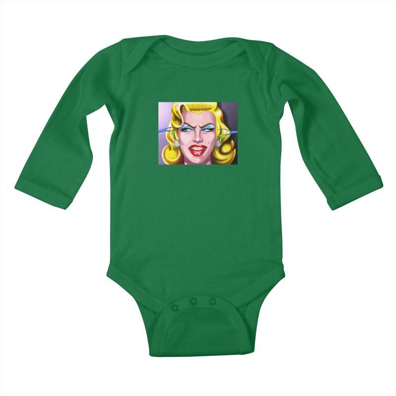 Marilyn Kids Baby Longsleeve Bodysuit by philscarr's Artist Shop