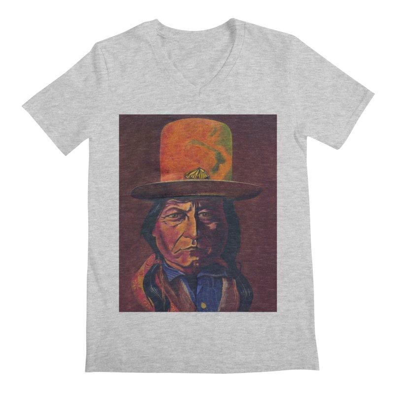 Sitting Bull (Tatanka Iyotake) Men's Regular V-Neck by philscarr's Artist Shop