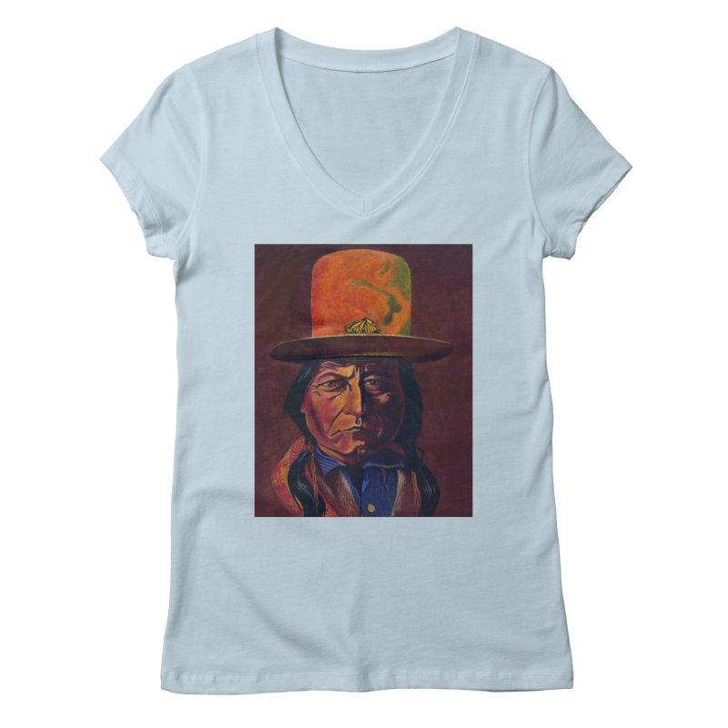 Sitting Bull (Tatanka Iyotake) Women's Regular V-Neck by philscarr's Artist Shop