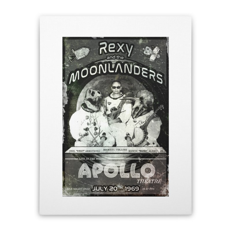 Rexy and the Moonlanders Home Stretched Canvas by Photon Illustration's Artist Shop