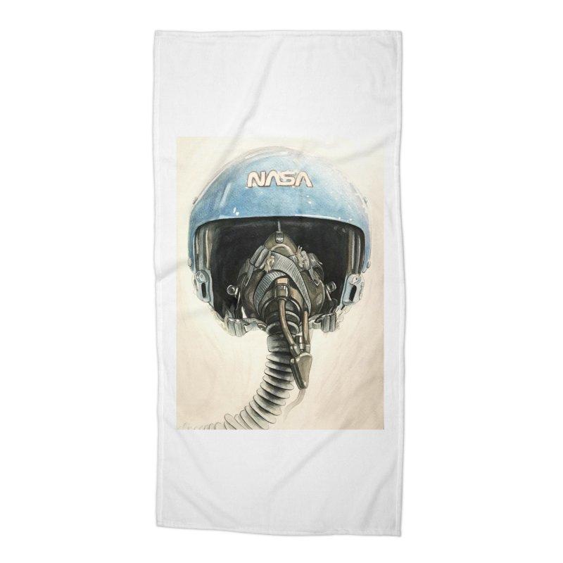 Sally Ride Aviator Helmet Accessories Beach Towel by Photon Illustration's Artist Shop