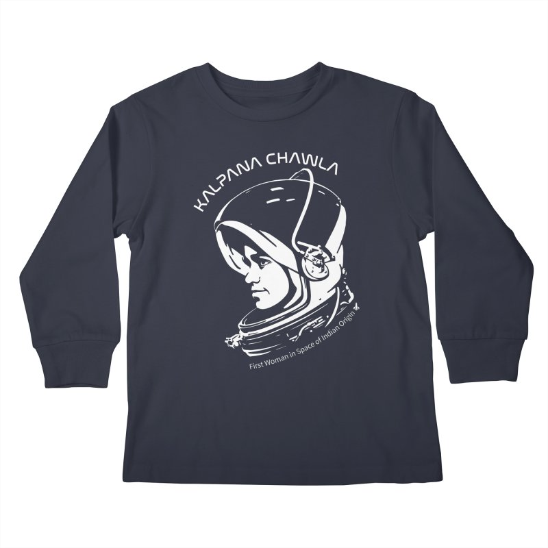 Women in Space: Kalpana Chawla Kids Longsleeve T-Shirt by Photon Illustration's Artist Shop