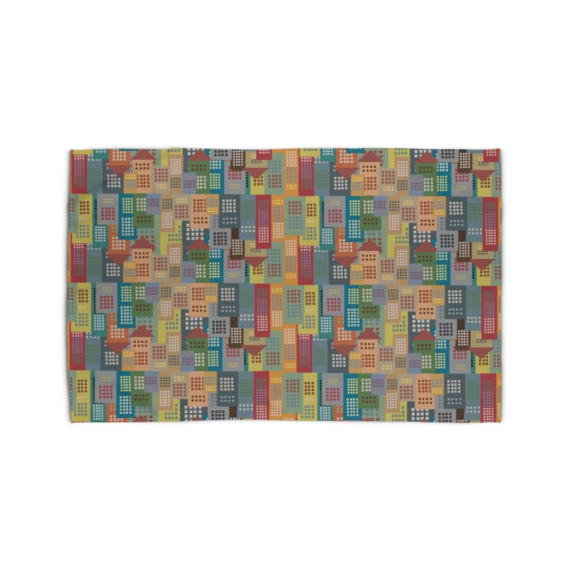 COLORFUL BUILDINGS Home Rug by pick&roll