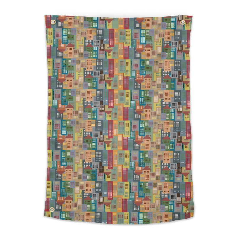 COLORFUL BUILDINGS Home Tapestry by pick&roll