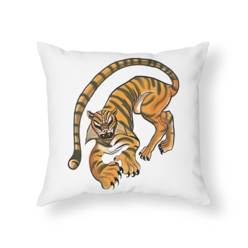 Tiger Home Throw Pillow by pieceofka's Artist Shop