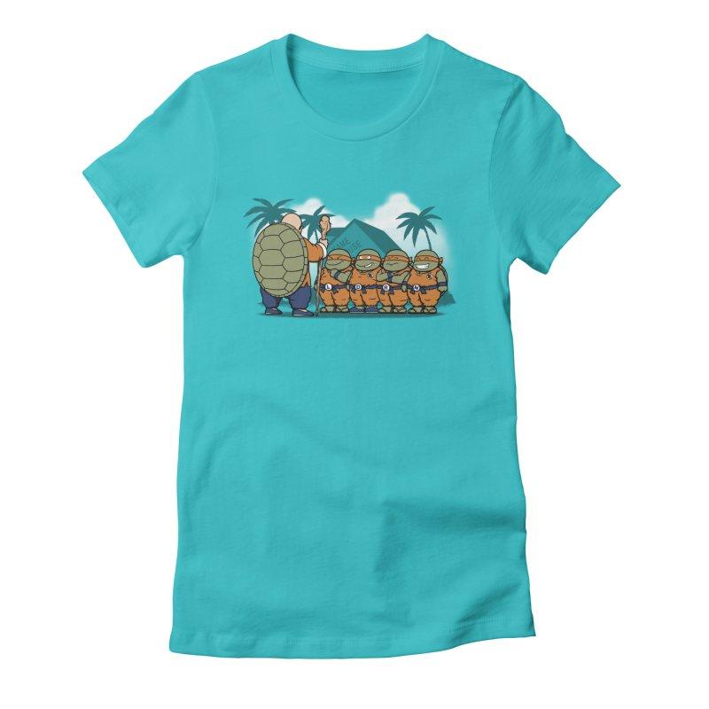Ninja Kame Kids Women's Fitted T-Shirt by Pigboom's Artist Shop