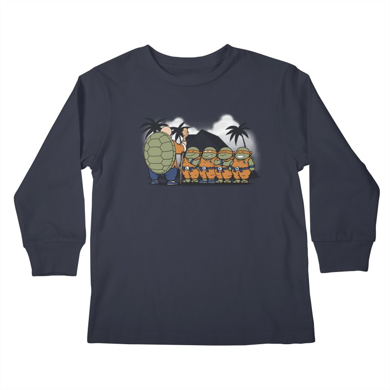 Ninja Kame Kids Kids Longsleeve T-Shirt by Pigboom's Artist Shop