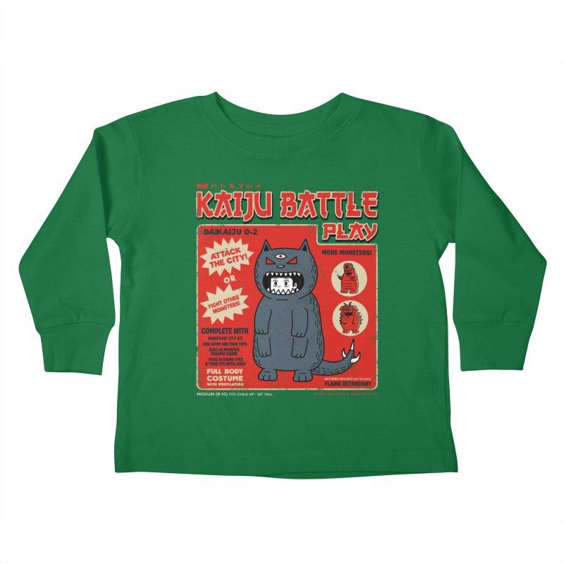 Kaiju Battle Play 02 Kids Toddler Longsleeve T-Shirt by Pigboom's Artist Shop