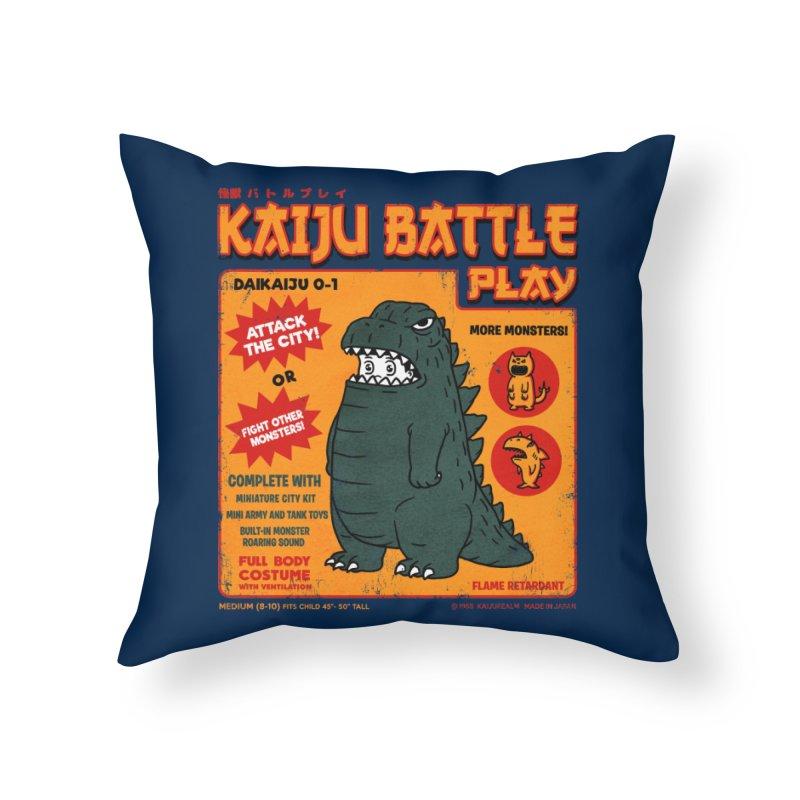 Kaiju Battle Play 01 Home Throw Pillow by Pigboom's Artist Shop