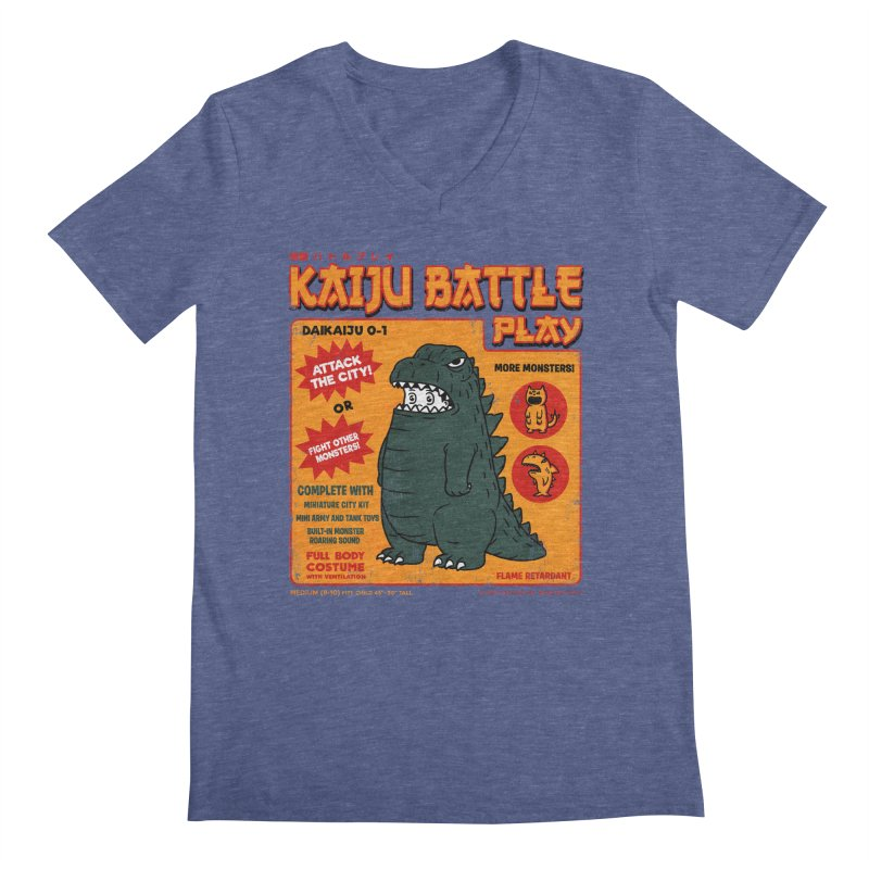 Kaiju Battle Play 01 Men's V-Neck by Pigboom's Artist Shop