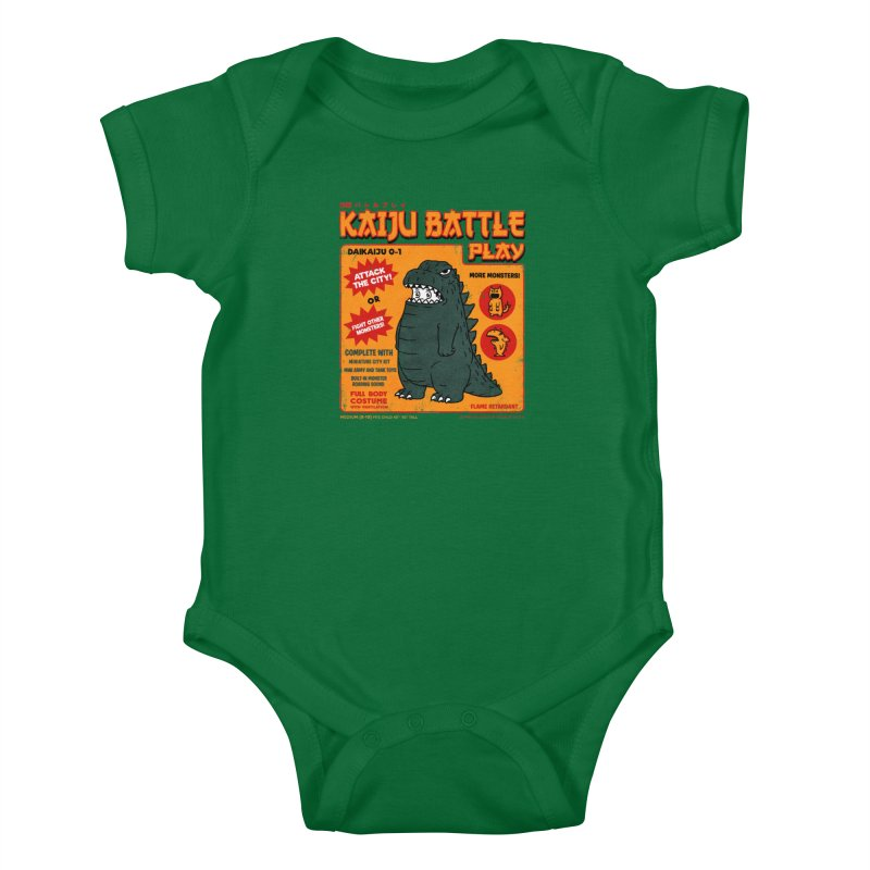 Kaiju Battle Play 01 Kids Baby Bodysuit by Pigboom's Artist Shop