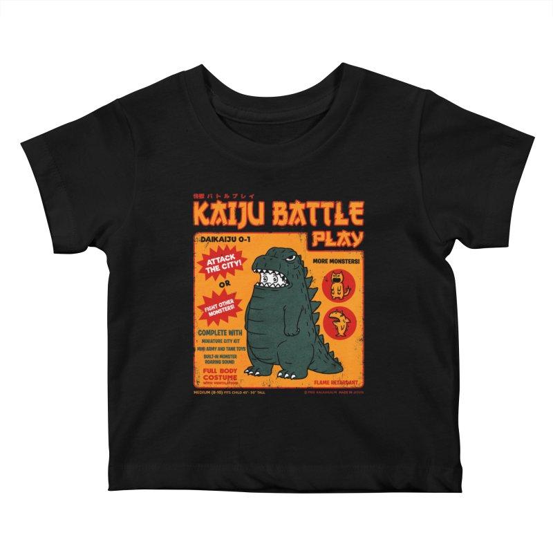 Kaiju Battle Play 01 Kids Baby T-Shirt by Pigboom's Artist Shop