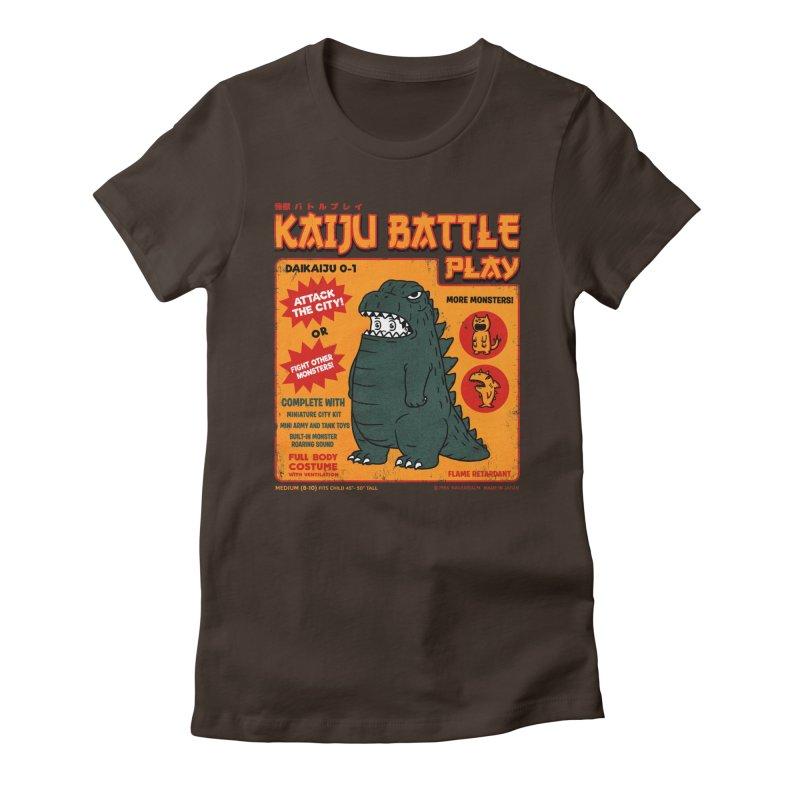 Kaiju Battle Play 01 Women's Fitted T-Shirt by Pigboom's Artist Shop