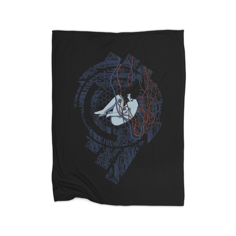 Wired Existence Home Fleece Blanket by Pigboom's Artist Shop