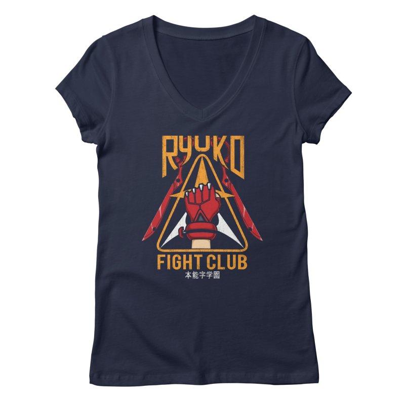 Honnouji Academy Fight Club Women's V-Neck by Pigboom's Artist Shop