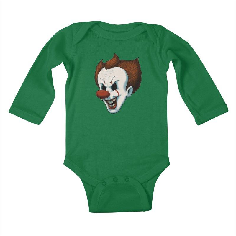 The Dancing Clown Kids Baby Longsleeve Bodysuit by Pigboom's Artist Shop