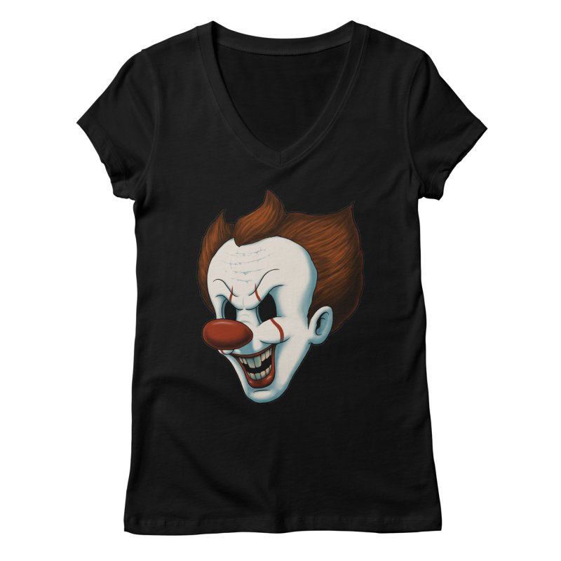The Dancing Clown Women's V-Neck by Pigboom's Artist Shop