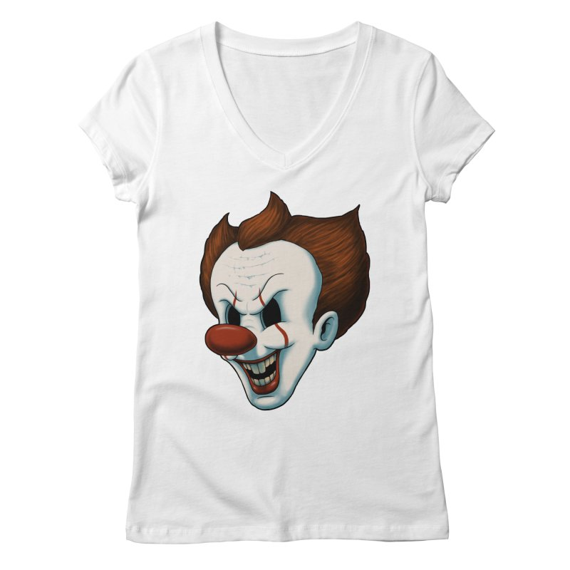 The Dancing Clown Women's V-Neck by Pigboom's Artist Shop
