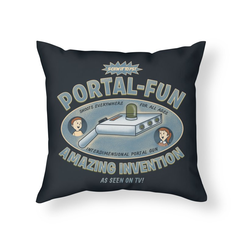 Portal Fun Home Throw Pillow by Pigboom's Artist Shop