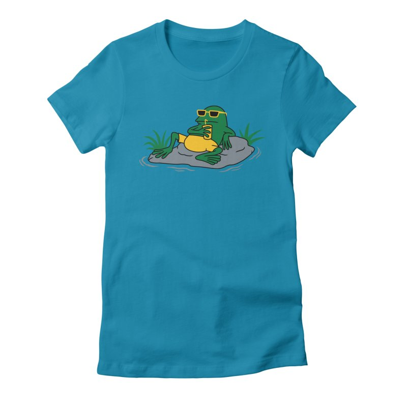 Pond Chillin Women's Fitted T-Shirt by Pigboom's Artist Shop