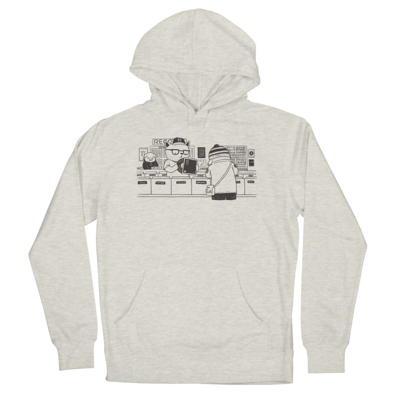At the Record Store Men's French Terry Pullover Hoody by Pigboom's Artist Shop