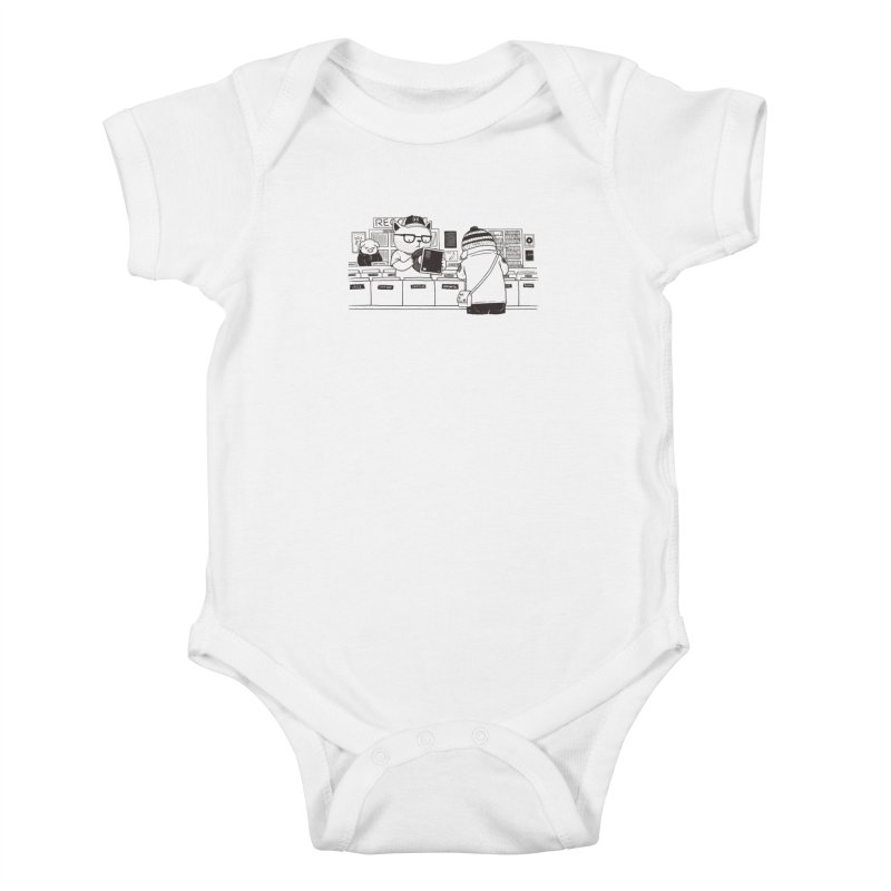 At the Record Store Kids Baby Bodysuit by Pigboom's Artist Shop