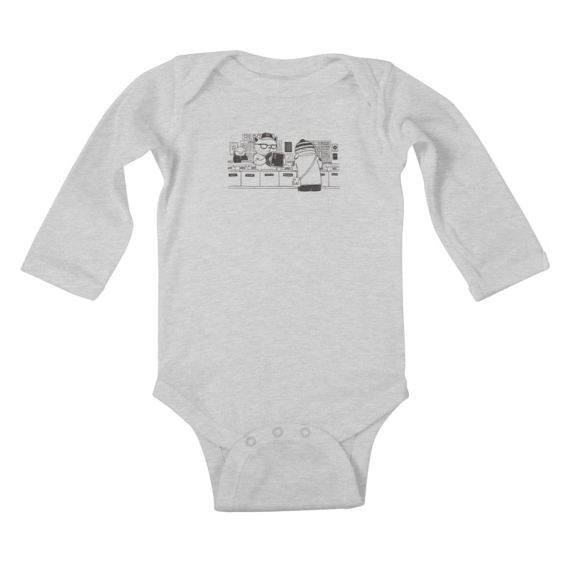 At the Record Store Kids Baby Longsleeve Bodysuit by Pigboom's Artist Shop