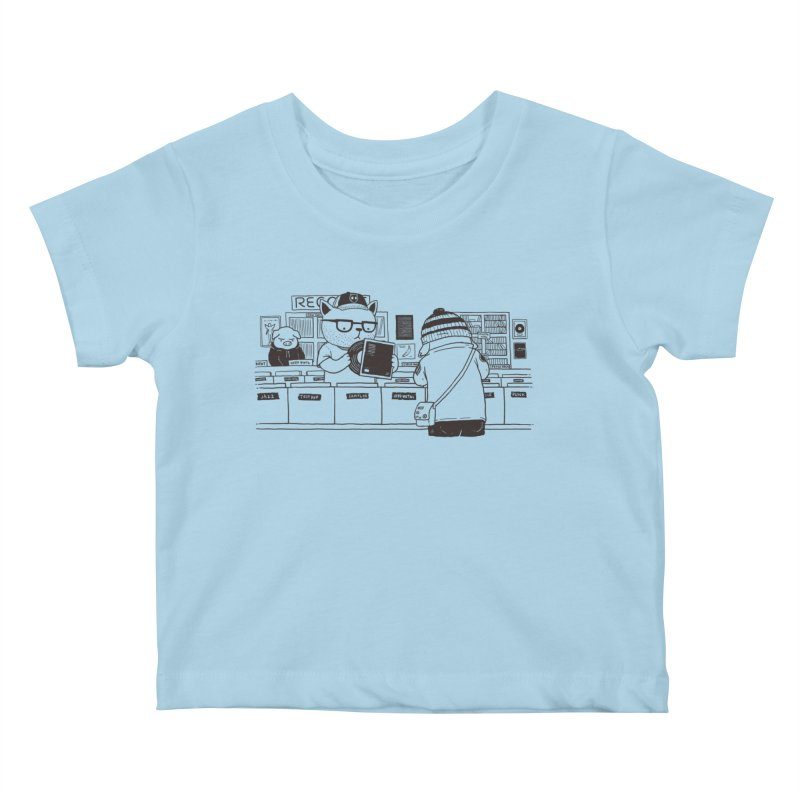 At the Record Store Kids Baby T-Shirt by Pigboom's Artist Shop
