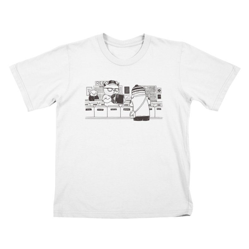 At the Record Store Kids T-Shirt by Pigboom's Artist Shop