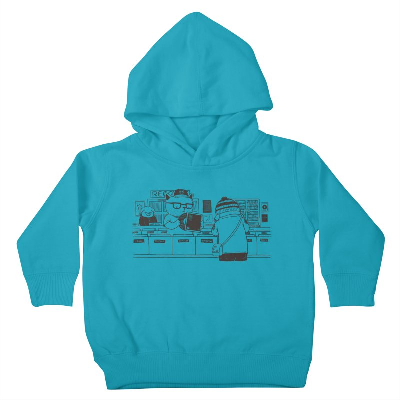 At the Record Store Kids Toddler Pullover Hoody by Pigboom's Artist Shop