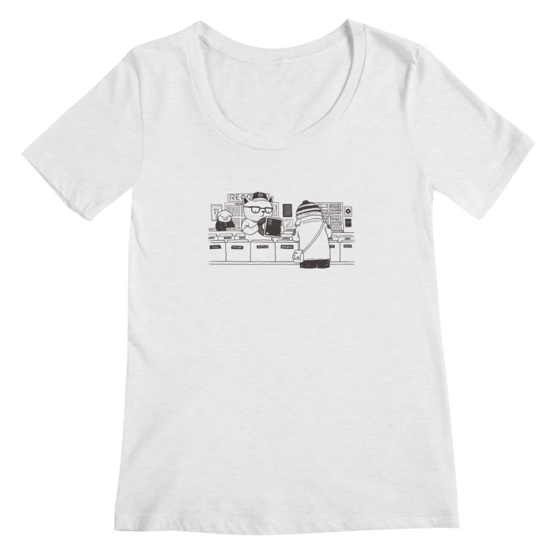 At the Record Store Women's Scoopneck by Pigboom's Artist Shop