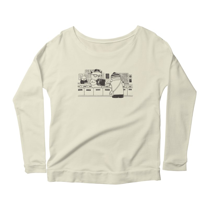 At the Record Store Women's Longsleeve Scoopneck  by Pigboom's Artist Shop
