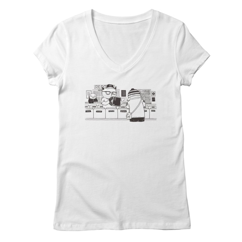 At the Record Store Women's V-Neck by Pigboom's Artist Shop
