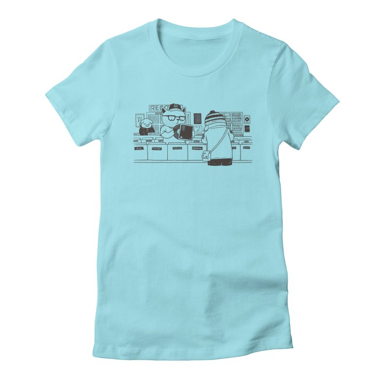 At the Record Store Women's Fitted T-Shirt by Pigboom's Artist Shop
