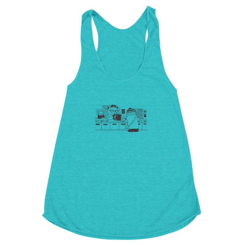 At the Record Store Women's Racerback Triblend Tank by Pigboom's Artist Shop