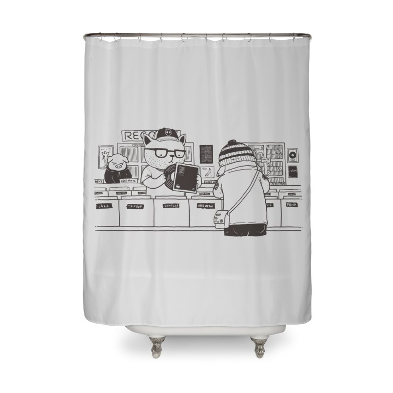 At the Record Store Home Shower Curtain by Pigboom's Artist Shop