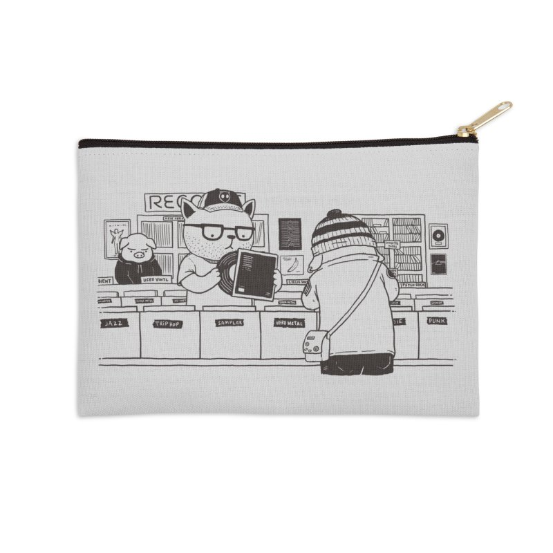 At the Record Store Accessories Zip Pouch by Pigboom's Artist Shop