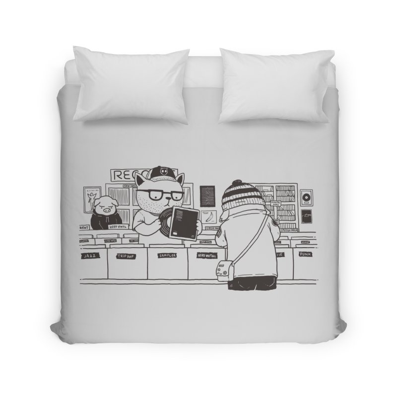 At the Record Store Home Duvet by Pigboom's Artist Shop