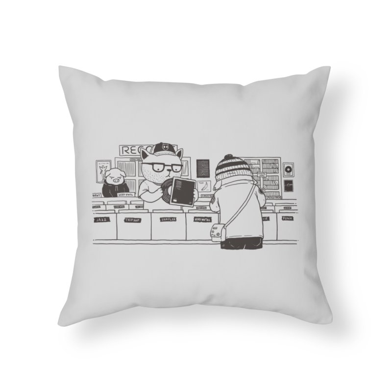 At the Record Store Home Throw Pillow by Pigboom's Artist Shop