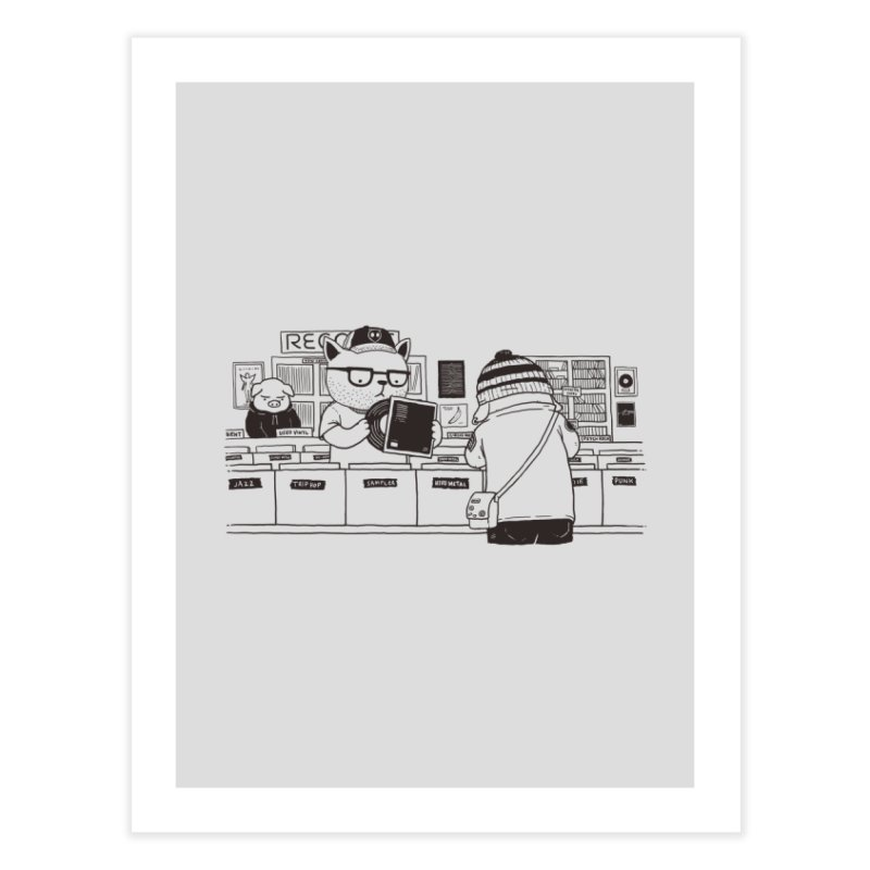 At the Record Store Home Fine Art Print by Pigboom's Artist Shop