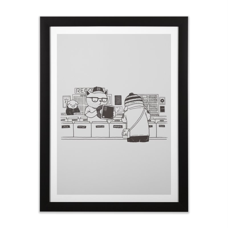 At the Record Store Home Framed Fine Art Print by Pigboom's Artist Shop